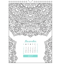 Calendar 2017 for coloring vector