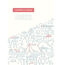 Camping and Hiking - line design brochure poster vector image