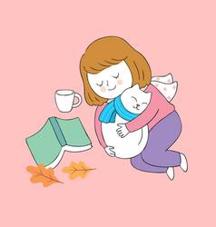 cartoon cute autumn woman and cat sleeping vector image