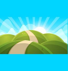 cartoon landscape sun cloud hill vector image
