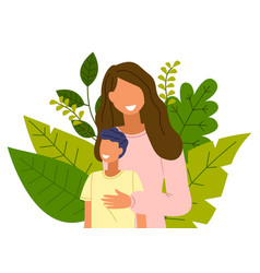 cartoon mother with son stands on background of vector image