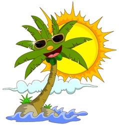 cartoon palm tree and sun vector image
