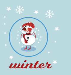 christmas snowman isolated on blue background vector image