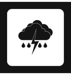 Clouds and thunderstorms icon simple style vector