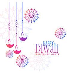 Colorful hanging diya lamps decorative diwali vector