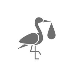 crane bird with baby bag stork grey icon vector image