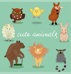 Cute animals hand drawn style vector