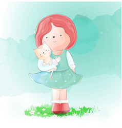 cute girl with cat watercolor style vector image