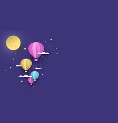 Cute papercut hot air balloon background at night vector