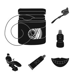 dental care black icons in set collection for vector image