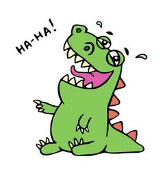 Dinosaur laughs unbridled joy vector