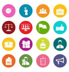 Election voting icons many colors set vector