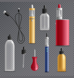 Electronic cigarette elements collection vector