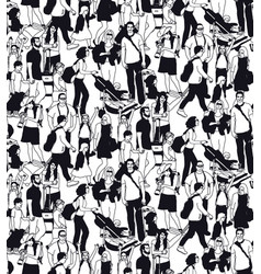 family people travel crowd seamless pattern black vector image