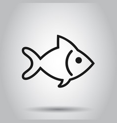 fish sign icon in flat style goldfish on isolated vector image