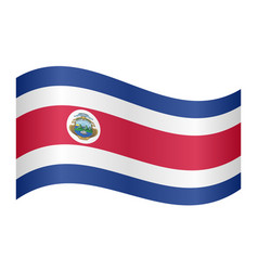 Flag of costa rica waving on white background vector