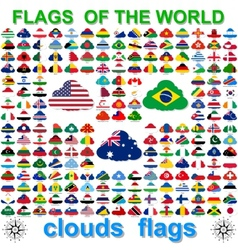Flags world and map on white background vector