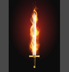 Flaming sword realistic image vector