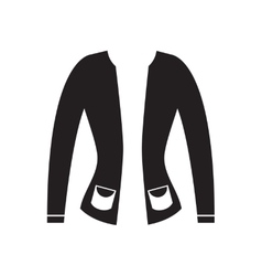 Flat icon in black and white women cardigan vector