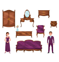 flat set of classic wooden furniture and vector image