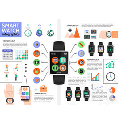 flat smart watch infographic concept vector image