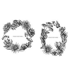 Floral wreath black and white viburnum vector