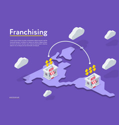 Franchising stores on the map vector