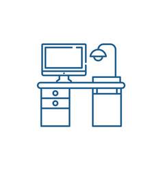freelancer computer desk line icon concept vector image