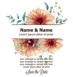 gerbera floral banner watercolor beautiful vector image