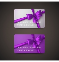 Gift Cards With Purple Bow And Ribbon vector
