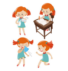 Girl in blue dress doing different actions vector