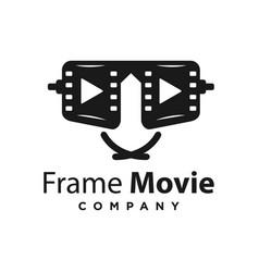 glasses movie logo design vector image