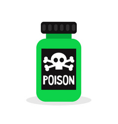 green bottle with a poison sign flat editable vector image