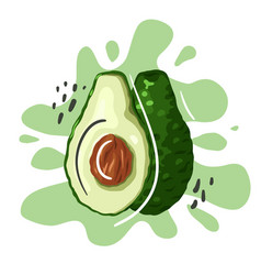 Hand drawn flat avocado with abstract lines vector