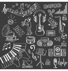 Hand drawn music set vector