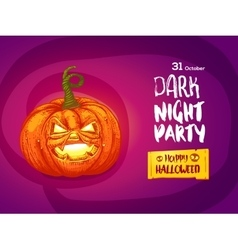 Jack pumpkin night party invitation vector image