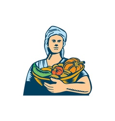 Lady Organic Farmer Produce Harvest Woodcut vector image