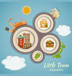 Little town infographics vector