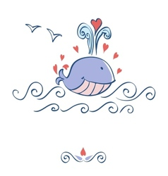 Little whale with hearts card design vector image