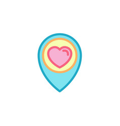 love with traveling pin location icon simple vector image