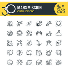 Mars mission outline icons vector