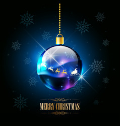 merry christmas santa claus on sleigh reindeer vector image