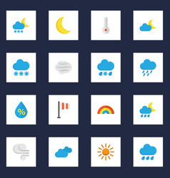 meteorology flat icons set collection of moon vector image