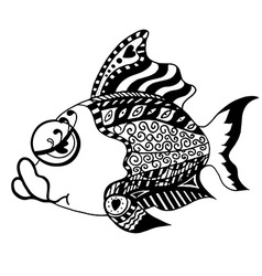 Monochrome Tangle Patterns stylized Fish vector