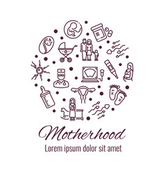 motherhood thin line icons round concept vector image