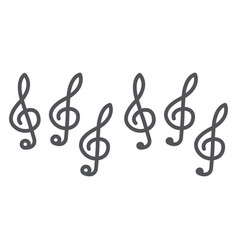 music clef line and glyph icon music and note vector image