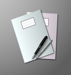 Notebooks with pen and pencil background vector