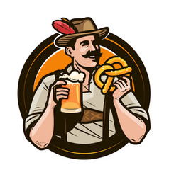 oktoberfest beer festival happy man in national vector image