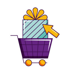 online shopping gift box click vector image