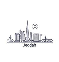 Outline jeddah banner vector